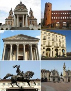 Turin landmarks collage including ancient and baroque architecture - all pictures in the collage are mine