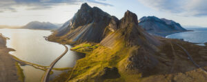 Scenic,Road,In,Iceland,,Beautiful,Nature,Landscape,Aerial,Panorama,,Mountains